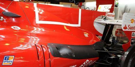Az eltávolított vonalkód design helye a Ferrari F1 autón