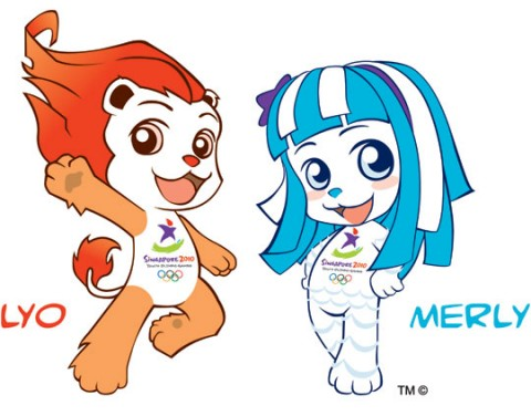 Lyo és Merly a szingapúri ifjúsági olimpia kabalái