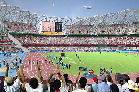 Atlétikai versenyek látványterve a londoni Olimpiai Stadionban