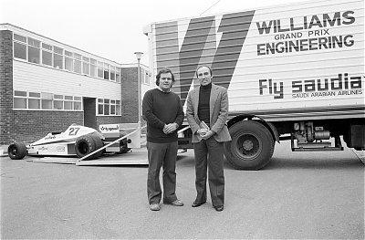 Frank Williams és Patrick Head a Williams F1 történelmének kezdetén