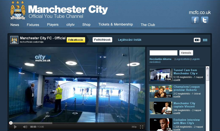 A Manchester City a Premier League klubok közül elsőként szerződött a Youtube-bal