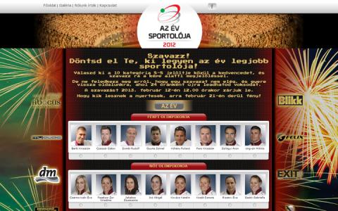 Az Év Sportolója 2012 honlap