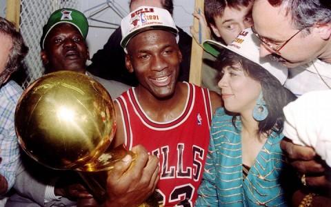 Michael Jordan az 1991-es bajnoki cím után