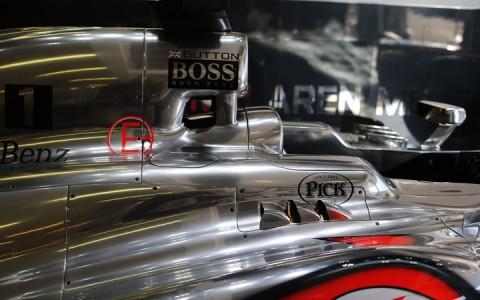 A Pick logója Jenson Button Forma 1-es autóján