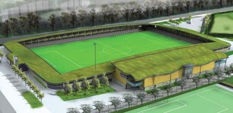 A Dartford FC stadionja természetes füves tetőszerkezettel