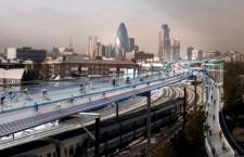 Futurisztikus bicikliút Londonban