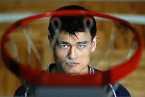 Yao Ming poses