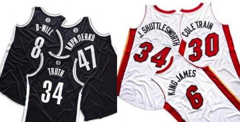 Becenevek az NBA mezeken