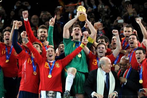A világbajnoki címét ünneplő spanyol válogatott