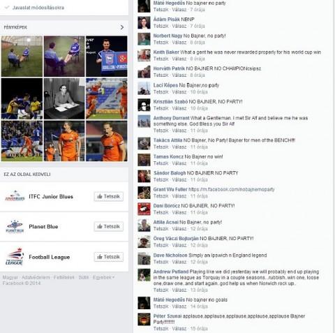 No Bajner No Party hozzászólások a Facebookon