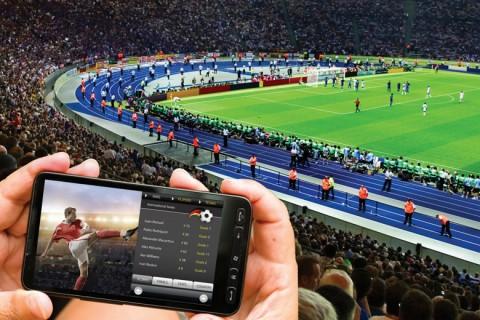 Szurkoló mobilozik a stadionban