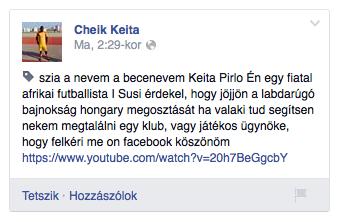 Keita üzenete az FTC Facebook oldalán
