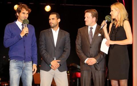 Roger Federer és a 2014-es másik döntős, Aljandro Falla