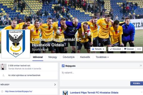 """Nem csalás, nem ámítás; a """"profi"""" klubként üzemelő Lombard Pápa Termál FC Facebook oldala 2014. július 29-e óta inaktív."""