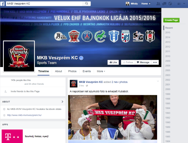 MKB Veszprém Facebook