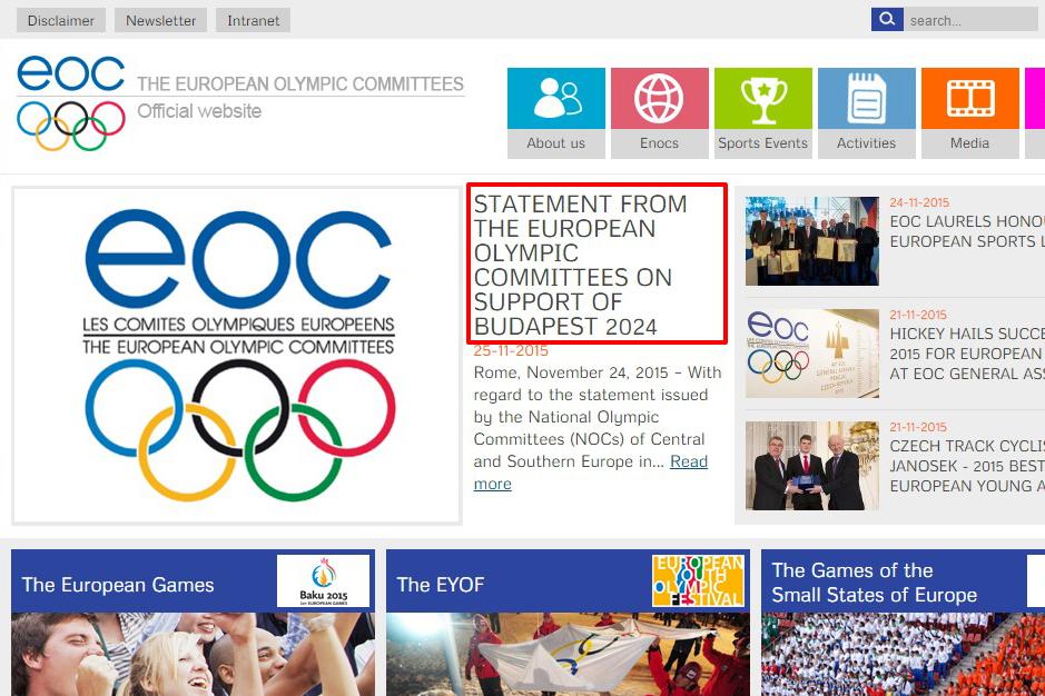 Az EOC közleménye a budapesti olimpiai pályázat támogatásával kapcsolatban a szervezet honlapján