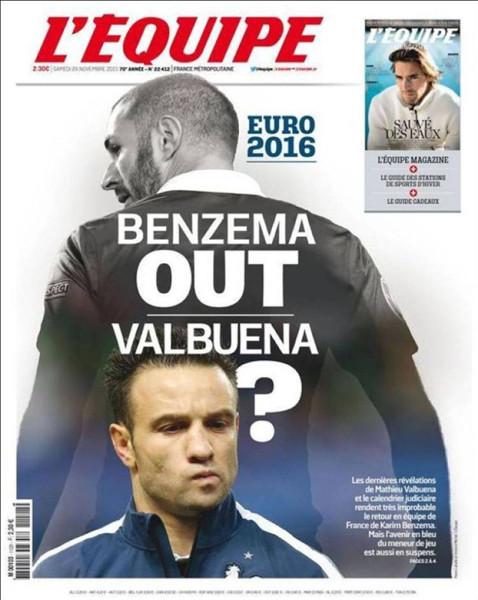 A L'Equipe november 26-ai lapszáma ezzel a borítóval jelent meg