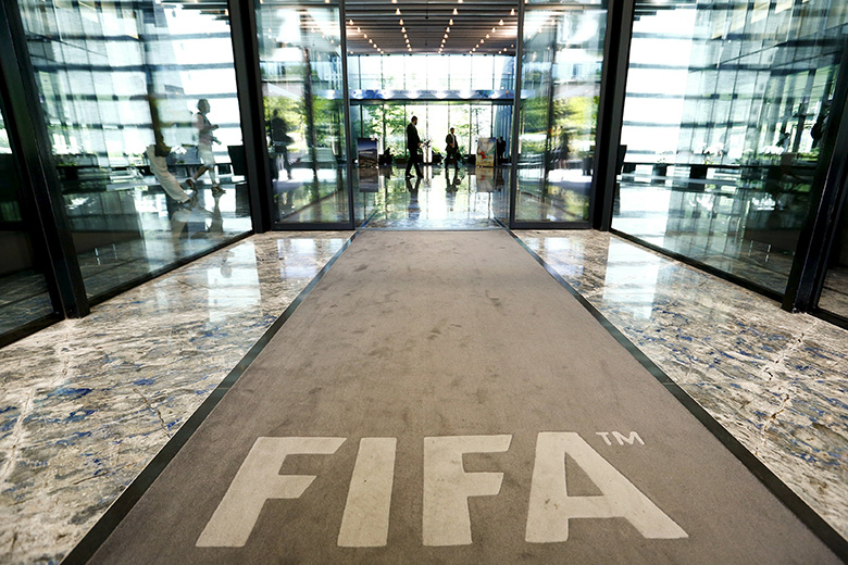 The hall of FIFA headquarters is pictured in Zurich