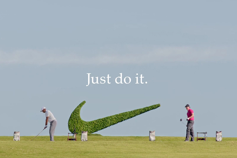 Nike golf hirdetés Tiger Woods és Rory McIlroy szereplésével.