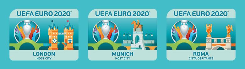 EURO 2020 rendező városok logói