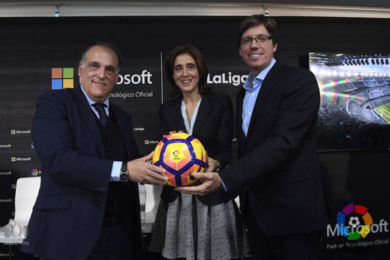 A LaLiga és Microsoft együttműködésének bejelentése.